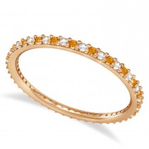 Diamond & Citrine Eternity Wedding Band 14k Rose Gold (0.25ct)