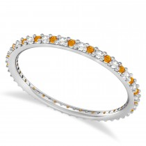 Diamond & Citrine Eternity Wedding Band 14k White Gold (0.25ct)
