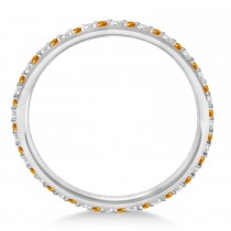 Petite Diamond & Citrine Eternity Wedding Band 14k White Gold (0.25ct)