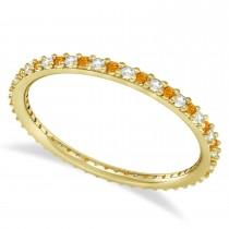 Petite Diamond & Citrine Eternity Wedding Band 14k Yellow Gold (0.25ct)