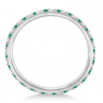 Diamond & Emerald Eternity Wedding Band 14k White Gold (0.25ct)