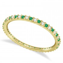Diamond & Emerald Eternity Wedding Band 14k Yellow Gold (0.25ct)