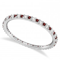 Petite Diamond & Garnet Eternity Wedding Band 14k White Gold (0.25ct)