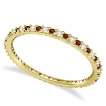 Petite Diamond & Garnet Eternity Wedding Band 14k Yellow Gold (0.25ct)