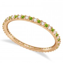 Diamond & Peridot Eternity Wedding Band 14k Rose Gold (0.25ct)