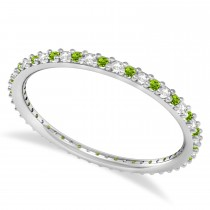 Petite Diamond & Peridot Eternity Wedding Band 14k White Gold (0.25ct)