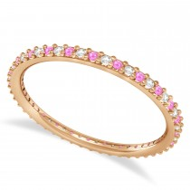 Diamond & Pink Sapphire Eternity Wedding Band 14k Rose Gold (0.25ct)