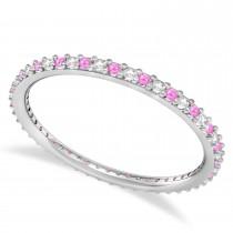 Diamond & Pink Sapphire Eternity Wedding Band 14k White Gold (0.25ct)