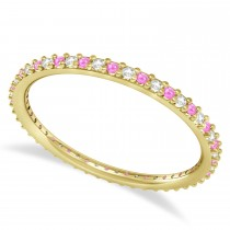 Diamond & Pink Sapphire Eternity Wedding Band 14k Yellow Gold (0.25ct)