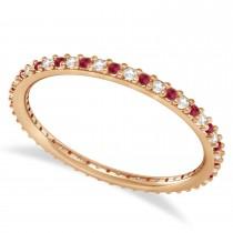 Diamond & Ruby Eternity Wedding Band 14k Rose Gold (0.25ct)