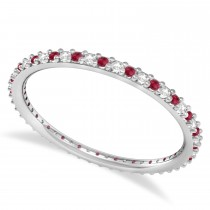 Petite Diamond & Ruby Eternity Wedding Band 14k White Gold (0.25ct)