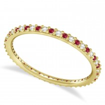 Diamond & Ruby Eternity Wedding Band 14k Yellow Gold (0.25ct)