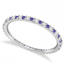 Diamond & Tanzanite Eternity Wedding Band 14k White Gold (0.25ct)