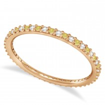 Yellow & White Diamond Eternity Wedding Band 14k Rose Gold (0.25ct)