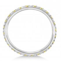 Yellow & White Diamond Eternity Wedding Band 14k White Gold (0.25ct)