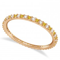 Diamond & Yellow Sapphire Eternity Wedding Band 14k Rose Gold (0.25ct)