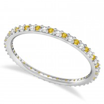 Diamond & Yellow Sapphire Eternity Wedding Band 14k White Gold (0.25ct)