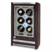 Rapport London Paramount Macassar Wood Six Watch Winder w/ Glass Door