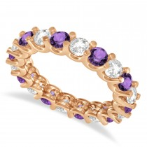Diamond & Amethyst Eternity Wedding Band 14k Rose Gold (2.40ct)
