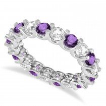 Diamond & Amethyst Eternity Wedding Band 14k White Gold (2.40ct)