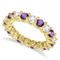 Diamond & Amethyst Eternity Wedding Band 14k Yellow Gold (2.40ct)