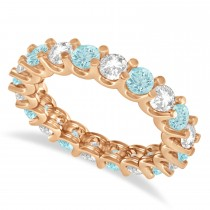 Diamond & Aquamarine Eternity Wedding Band 14k Rose Gold (2.40ct)