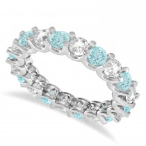 Diamond & Aquamarine Eternity Wedding Band 14k White Gold (2.40ct)