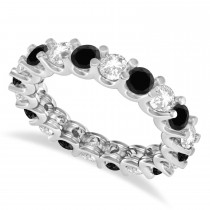 Black & White Diamond Eternity Wedding Band 14k White Gold (2.40ct)