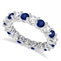 Diamond & Blue Sapphire Eternity Wedding Band 14k White Gold (2.40ct)