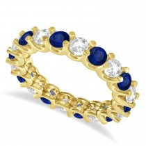 Diamond & Blue Sapphire Eternity Wedding Band 14k Yellow Gold (2.40ct)