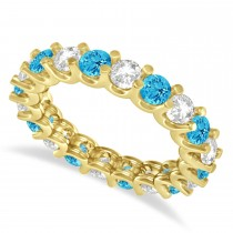 Diamond & Blue Topaz Eternity Wedding Band 14k Yellow Gold (2.40ct)