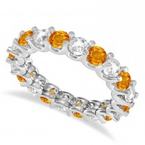 Diamond & Citrine Eternity Wedding Band 14k White Gold (2.40ct)