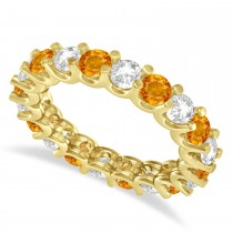 Diamond & Citrine Eternity Wedding Band 14k Yellow Gold (2.40ct)