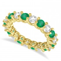 Diamond & Emerald Eternity Wedding Band 14k Yellow Gold (2.40ct)