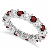 Diamond & Garnet Eternity Wedding Band 14k White Gold (2.40ct)