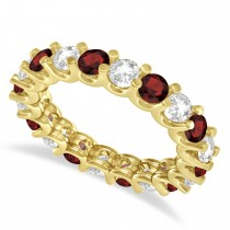 Diamond & Garnet Eternity Wedding Band 14k Yellow Gold (2.40ct)