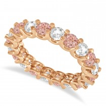 Diamond & Morganite Eternity Wedding Band 14k Rose Gold (2.40ct)