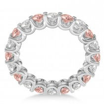 Diamond & Morganite Eternity Wedding Band 14k White Gold (2.40ct)