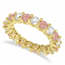 Diamond & Morganite Eternity Wedding Band 14k Yellow Gold (2.40ct)