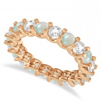 Diamond & Opal Eternity Wedding Band 14k Rose Gold (2.40ct)