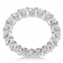Diamond & Opal Eternity Wedding Band 14k White Gold (2.40ct)