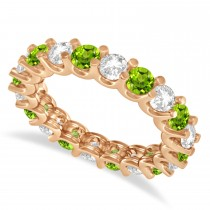Diamond & Peridot Eternity Wedding Band 14k Rose Gold (2.40ct)