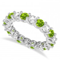 Diamond & Peridot Eternity Wedding Band 14k White Gold (2.40ct)
