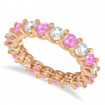 Diamond & Pink Sapphire Eternity Wedding Band 14k Rose Gold (2.40ct)