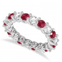 Diamond & Ruby Eternity Wedding Band 14k White Gold (2.40ct)