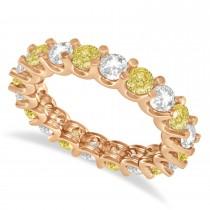 Yellow & White Diamond Eternity Wedding Band 14k Rose Gold (2.40ct)