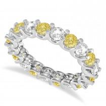 Yellow & White Diamond Eternity Wedding Band 14k White Gold (2.40ct)
