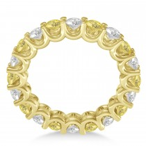 Yellow & White Diamond Eternity Wedding Band 14k Yellow Gold (2.40ct)