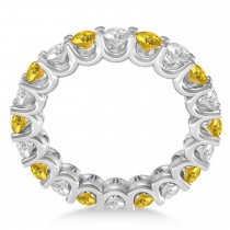 Diamond & Yellow Sapphire Eternity Wedding Band 14k White Gold (2.40ct)