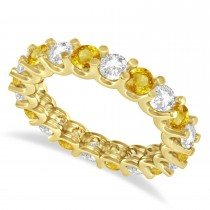 Diamond & Yellow Sapphire Eternity Wedding Band 14k Yellow Gold (2.40ct)